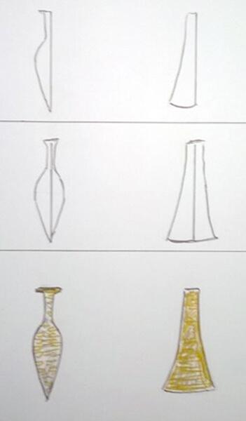 Sådan tegner man en spydspids og en økse.