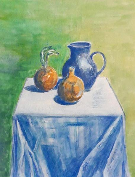 Kande og løg, akvarel, ca. 1992