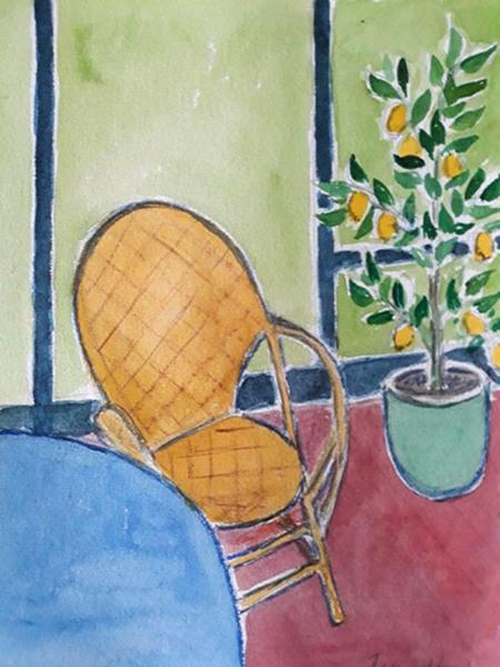 Mit atelier, corbusier stol, citrontræ, akvarel, 2020