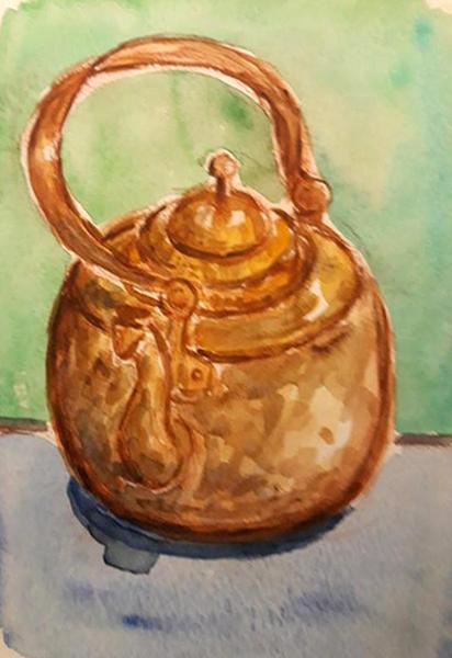 Kobberkedel, akvarel, ca. 2006
