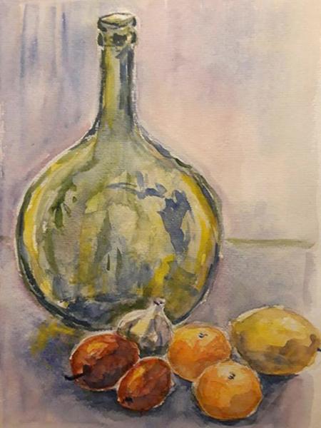 Grøn flaske, citrusfrugter og hvidløs, akvarel,ca. 1987
