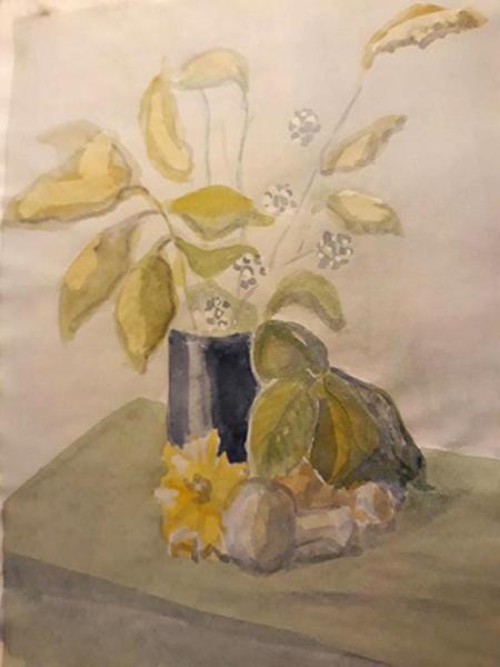 Blå vase med grene, akvarel, ca. 2003