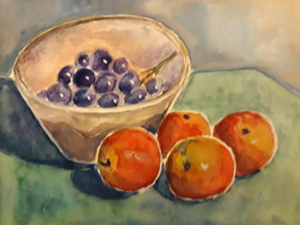 Vindruer og æbler, akvarel, 2007