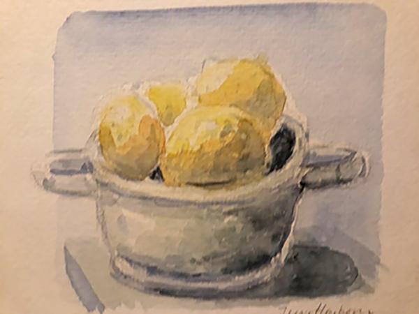Skål med citroner, akvarel, ca. 2006