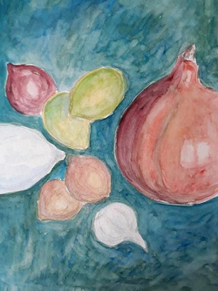Rodfrugter og citroner, akvarel, 2019