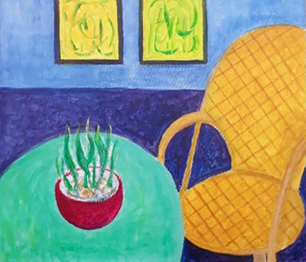 Mit køkken, corbusier stol, akryl, 2020