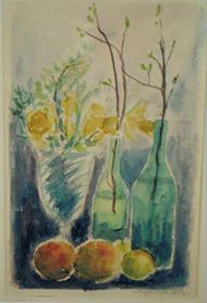 Påskeliljer og flasker, akvaral, ca. 1995