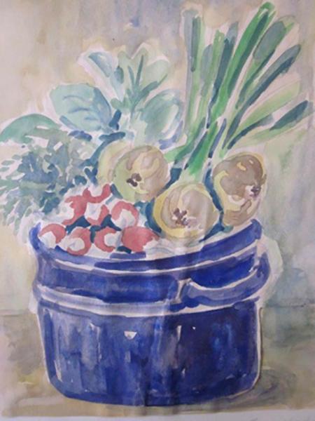 Radiser og løg i blå krukke, akvarel, ca. 1977