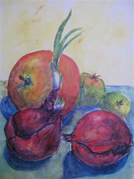Appelsin, rødløg og æbler, akvarel, ca. 1992