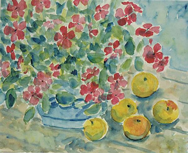 Flittiglise og æbler fra min have, akvarel, ca. 1997