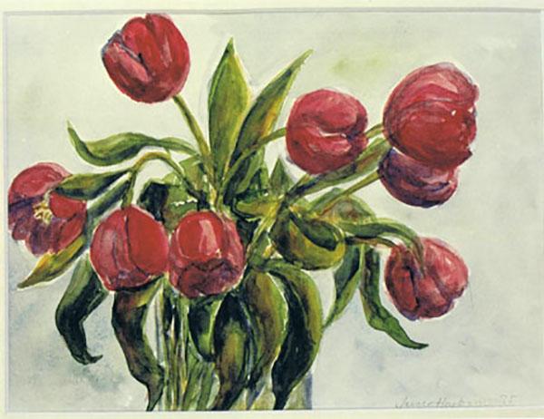 Tulipaner, akvarel, ca. 1990