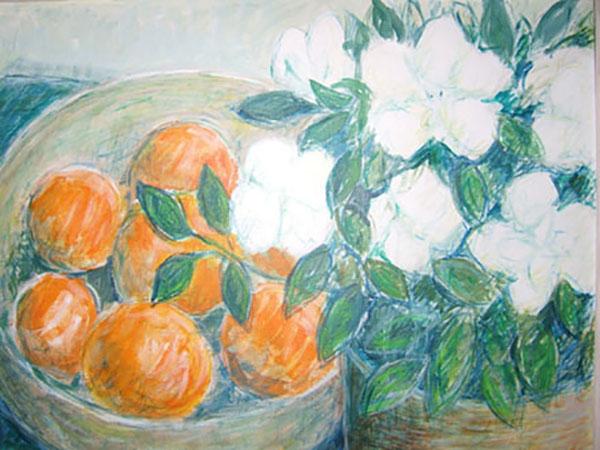 Azalie og appelsiner, akvarel, ca. 1998