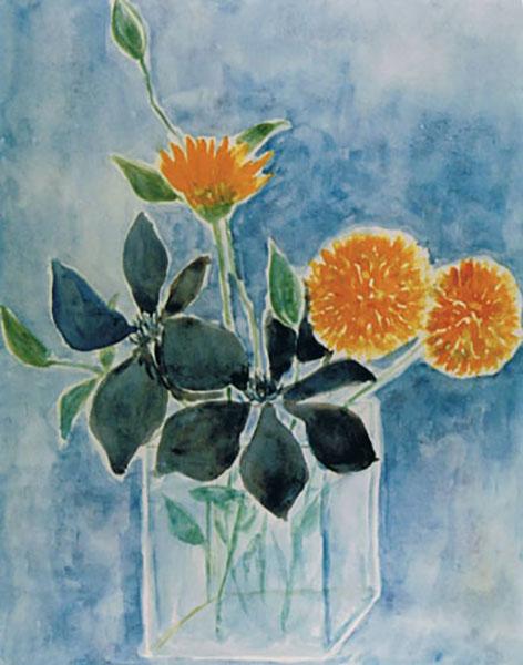 Morgenfruer og klematis, akvarel, ca.1996