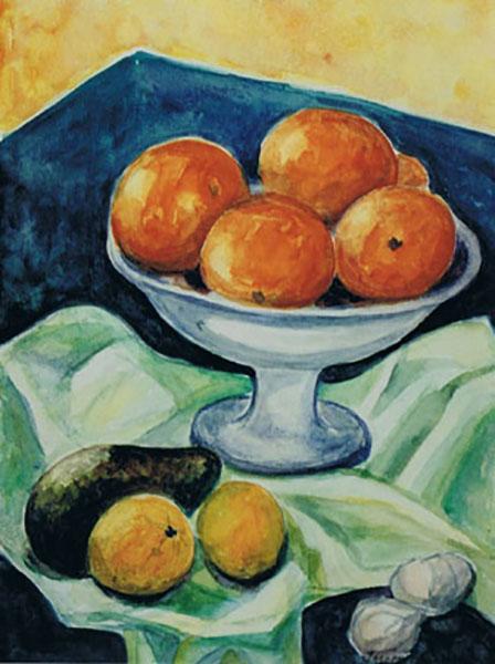 Appelsiner, akvarel