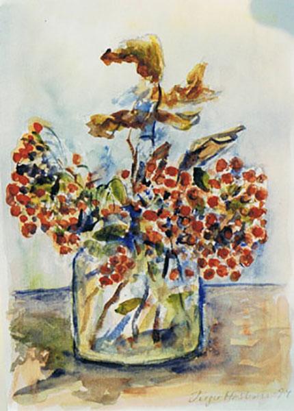 Røde bær, efterår, akvarel, ca. 1987