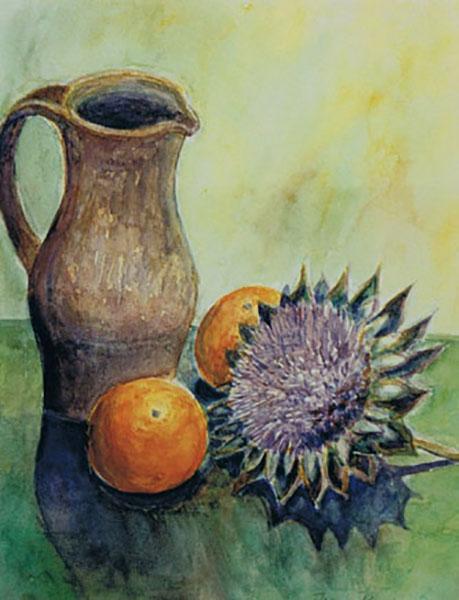 Kande med artiskok og appelsiner, akvarel, ca. 1995