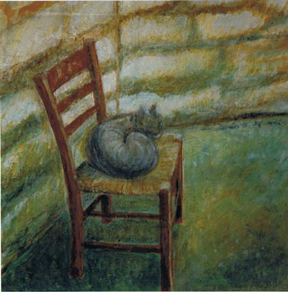 Græsk kat på stol, akryl, ca. 1990