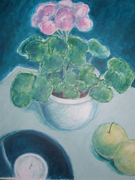 Pelargonie i potte, akryl, ca. 2005
