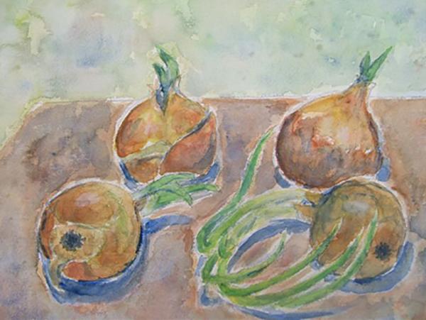 Spirende løg, akvarel, ca. 1988