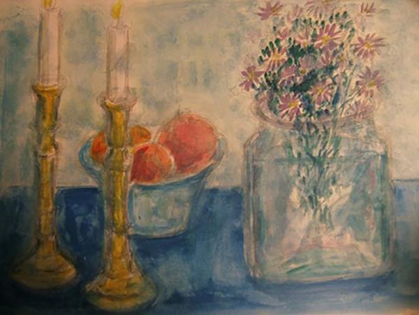 Messingstager med strandasters og appelsiner, akvarel, ca. 2011