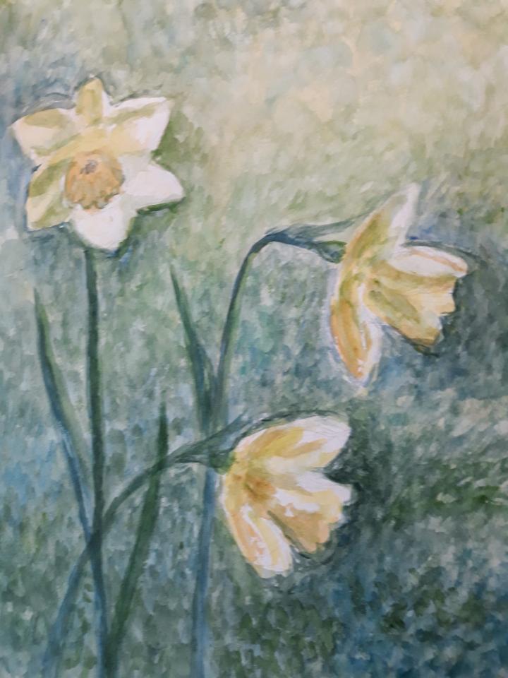 Påskeliljer, akvarel, 2021