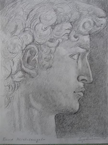 Hyrden David af Michelangelo, blyant, live