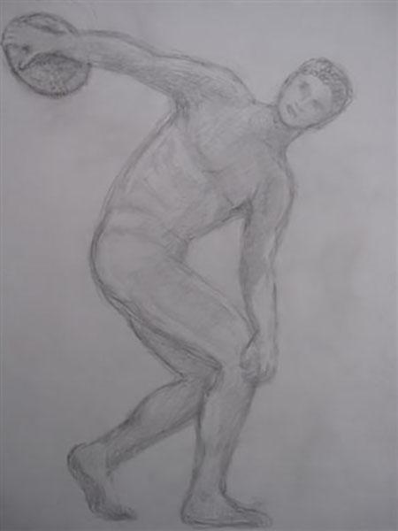Bronzeskulptur af Diskoskasteren, blyant, live