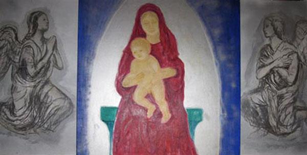 Jomfru Maria med Jesusbarnet, fra kirke Lucca, akryl