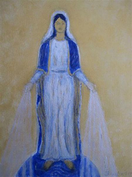 Jomfru Maria healer jorden, akryl