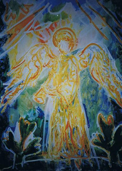 Ærkeengel Gabriel, akryl (Højby Kirke)