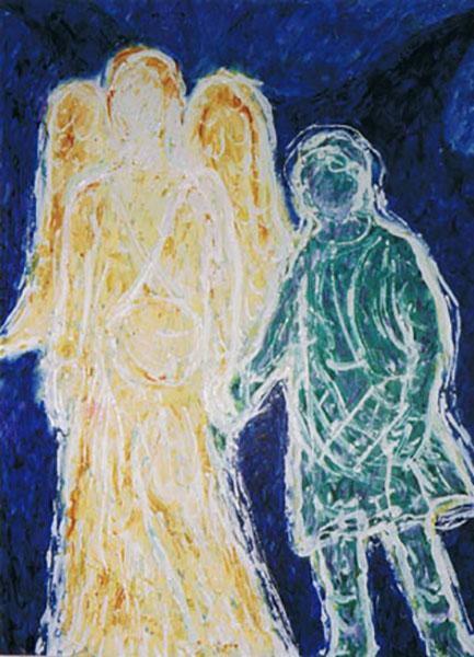 Tobias og englen, akryl, en rejseengel