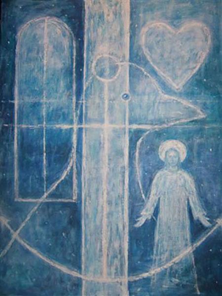 Tro, håb og kærlighed og fredsdue, akryl