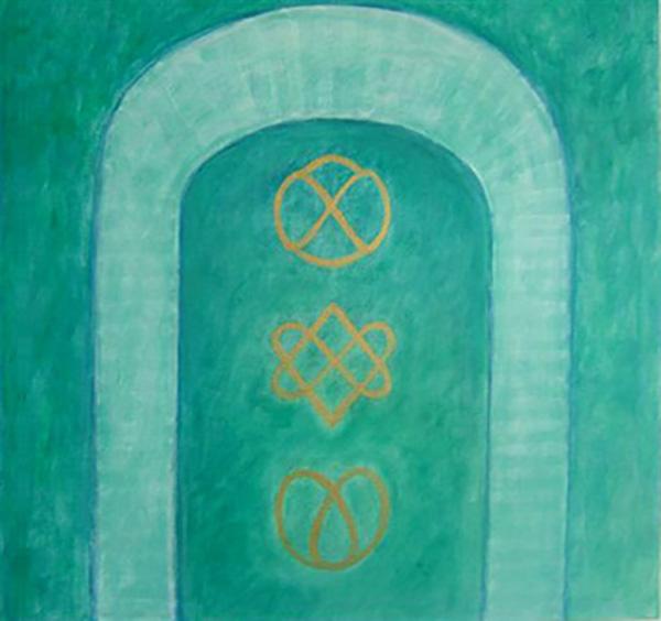 Spirituelle symboler, se teksten på siden, akryl
